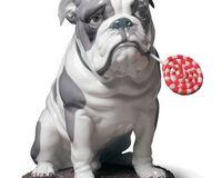 Bulldog with Lollipop Dog Figurine, small