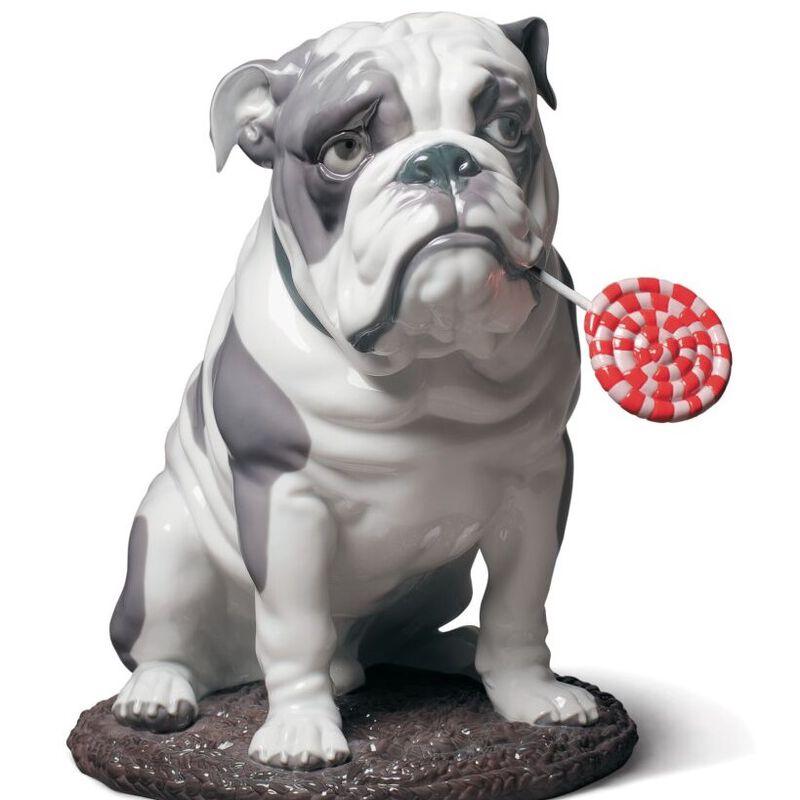 Bulldog with Lollipop Dog Figurine, large