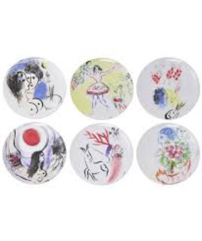 Marc Chagall Gift boxed set of 6 plates, large