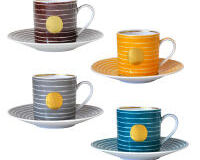 Aboro Gift Box Set Of 4 Assorted Espresso Cups And Saucers, small