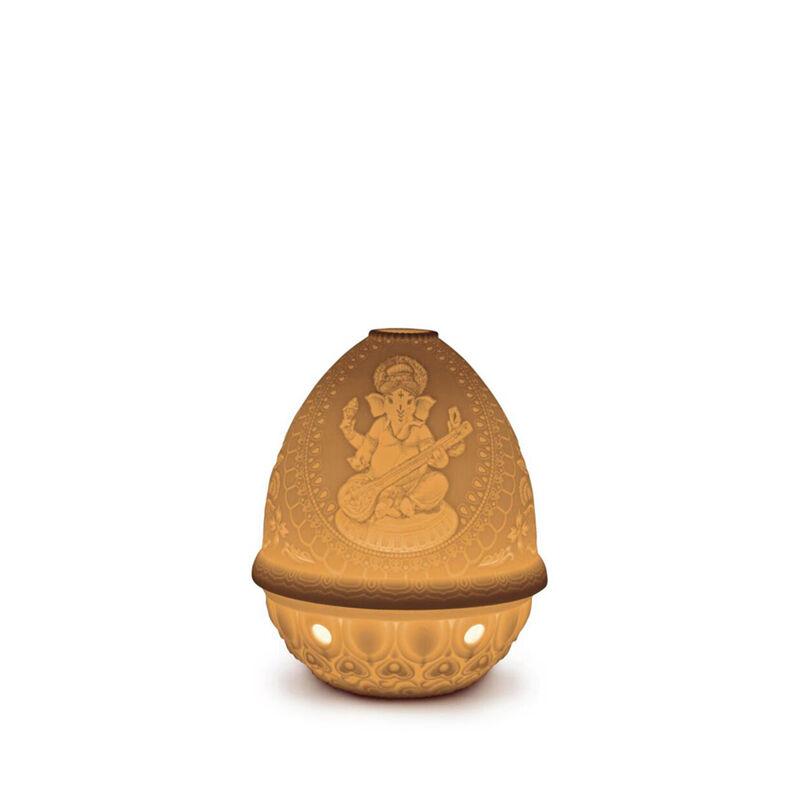 The Spirit Of India Lithophane Votive Light-Veena Ganesha, large