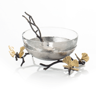 Butterfly Ginkgo Glass Nut bowl