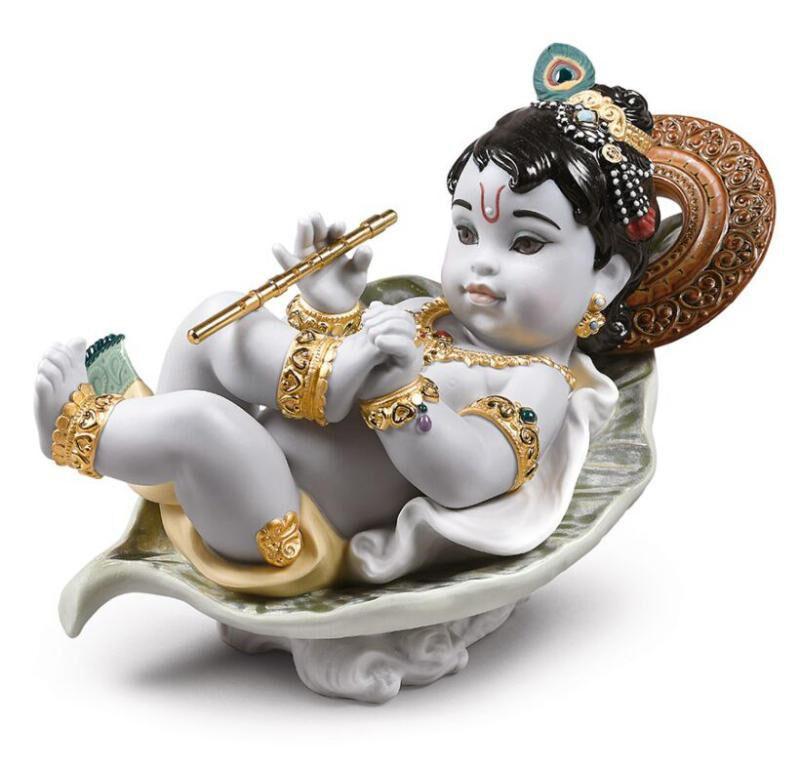 Krishna On Leaf Figurine, large