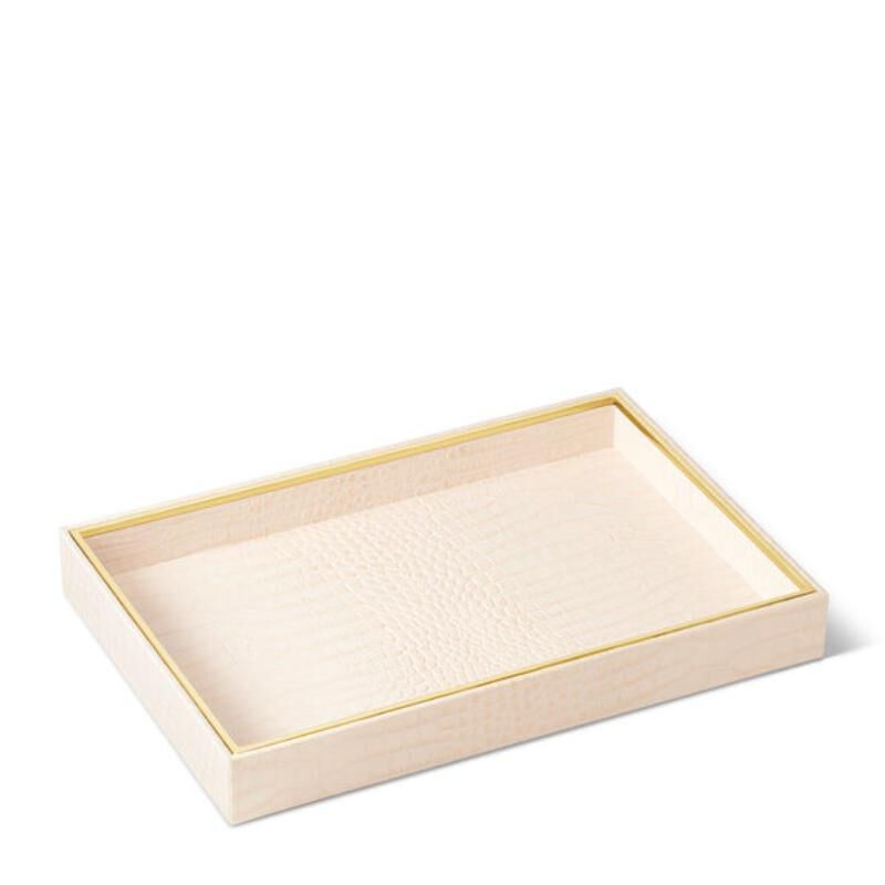 Classic Croc Leather Vanity Tray, large
