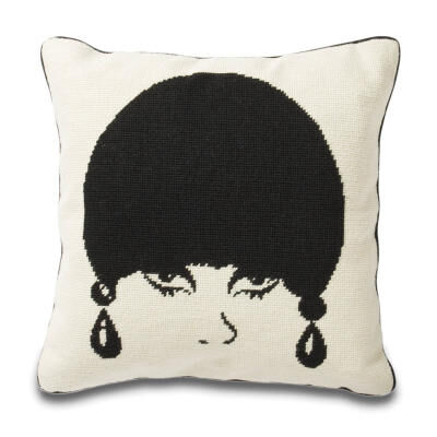 Mod Model Needlepoint Throw Pillow