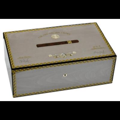 صندوق الخشب المرطب  ل 75 سجائر. ميداليات رمادية