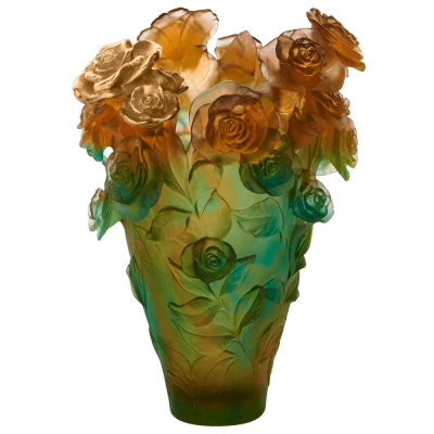 ROSE PASSION GREEN AND ORANGE MAGNUM VASE WITH GILDED BOUQUET