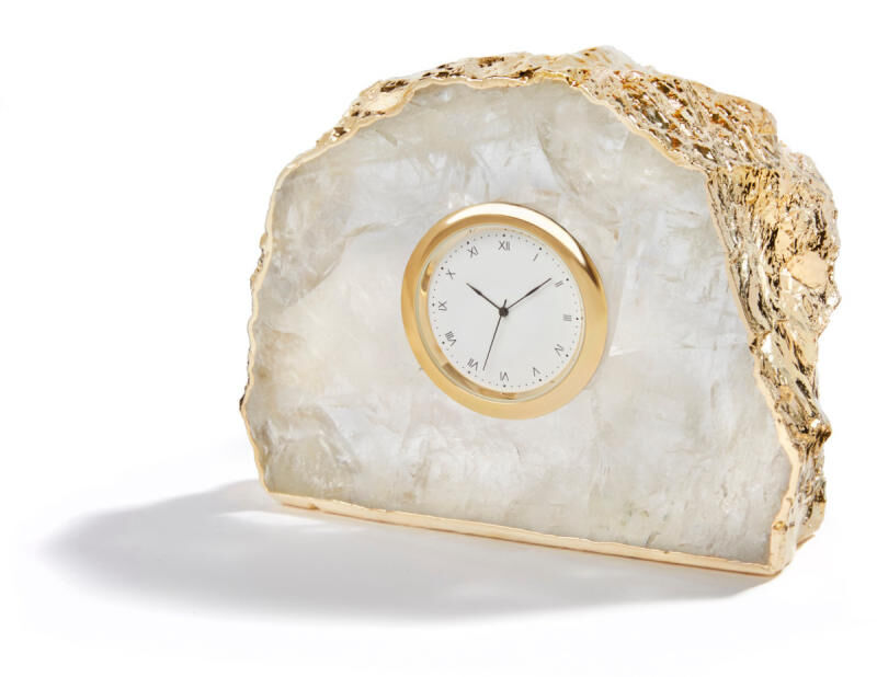 Ampliar Crystal And 24K Gold Clock, large