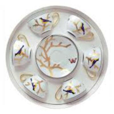 Aux Oiseaux Set of six tea cups with saucers