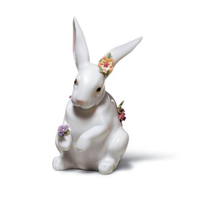 Sitting Bunny W/Flowers Figurine