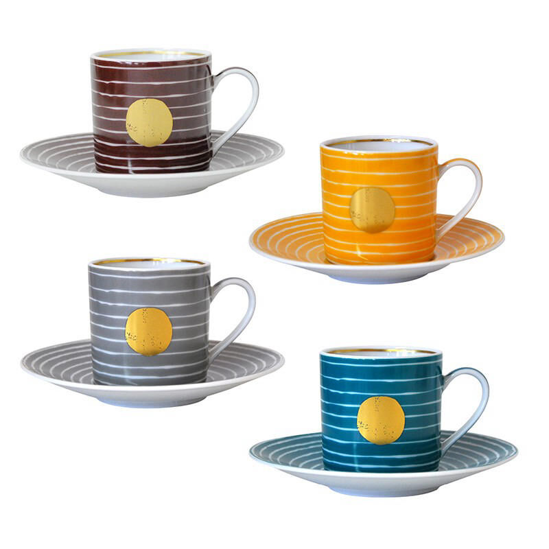 Aboro Gift Box Set Of 4 Assorted Espresso Cups And Saucers, large