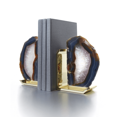 Natural Agate Brass Fim Bookends