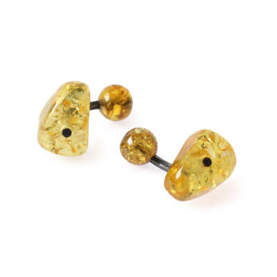 CUFFLINKS AMBER SILVER WITH BOX