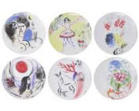 Marc Chagall Gift boxed set of 6 plates, small