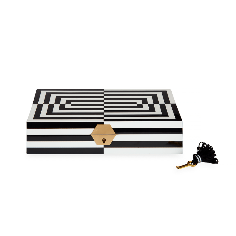 Op Art Lacquer Jewelry Box, large