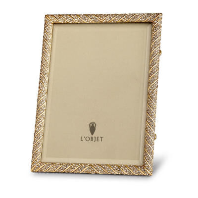 Deco Twist Pave Gold with White Crystals Picture Frame