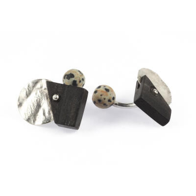 CUFFLINKS EBONY DALMATIAN JASPER SILVER. WITH BOX