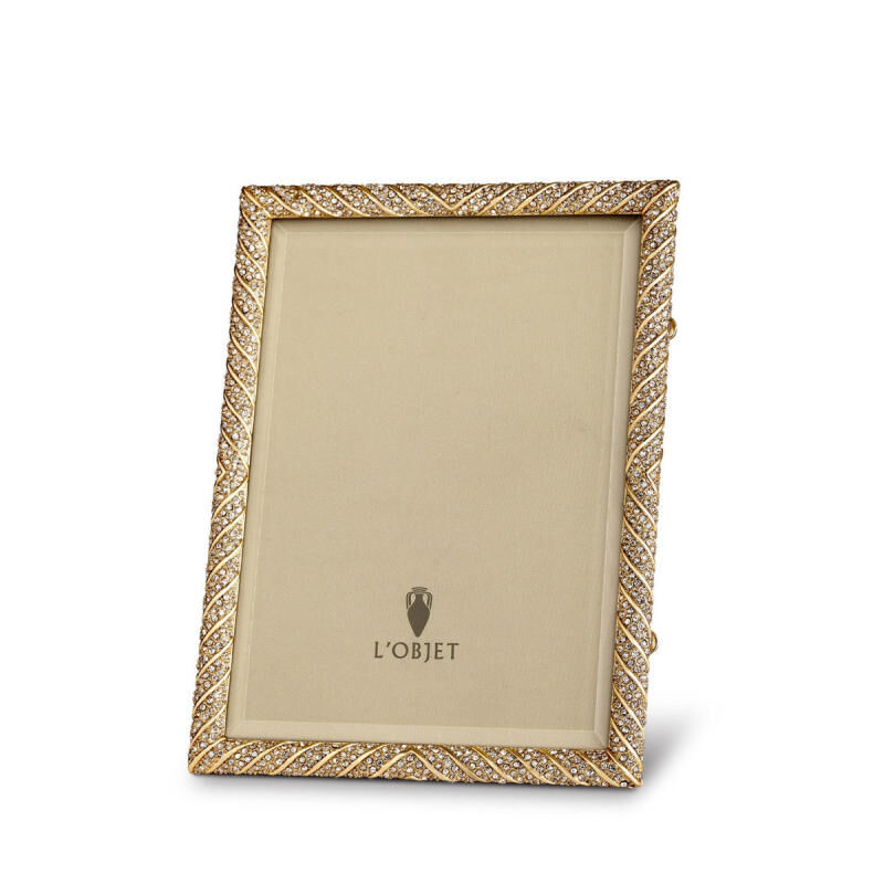 Deco Twist Pave Gold With White Crystals Picture Frame, large