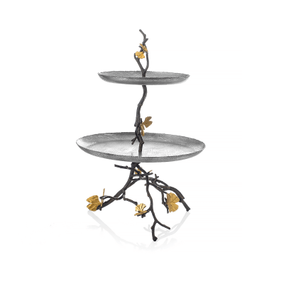 Butterfly Ginkgo two-tier Etagere
