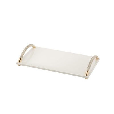 Lacquered Tray With Braided Curves Handle