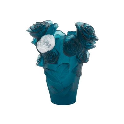 ROSE PASSION BLUE VASE WITH WHITE FLOWER