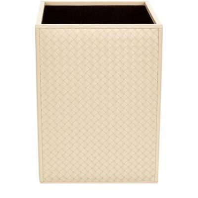 Leather wastebasket, quilted leather on two sides.