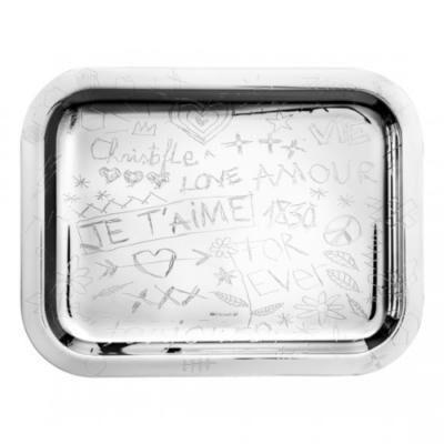 Graffiti Silver Plated Tray