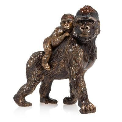 Jungle Mother And Baby Gorilla Figurine