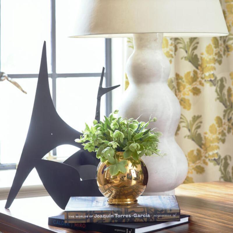 مزهرية ماريون دائرية  مطلية بالذهب, large