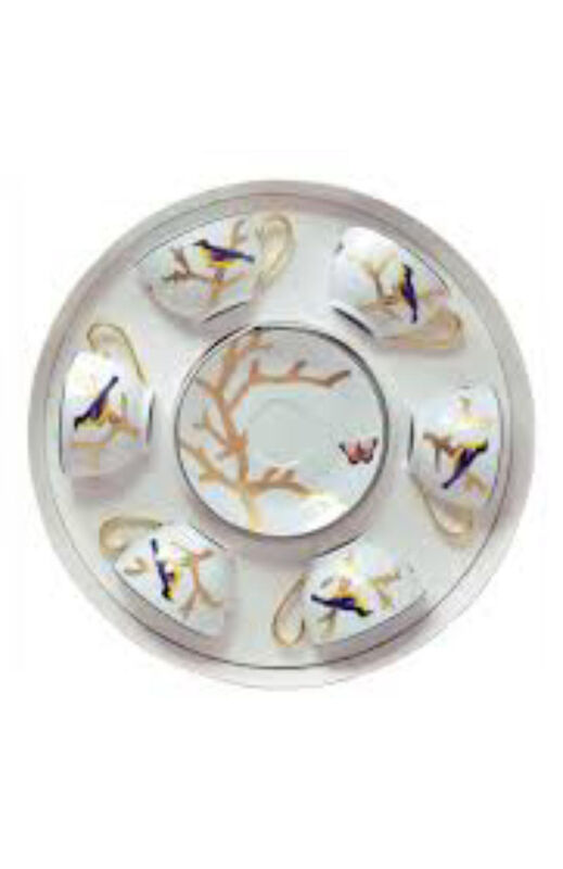 Aux Oiseaux Set Of Six Tea Cups With Saucers, large