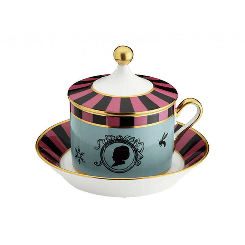 Cirque Des Merveilles Tea Cup With Saucer And Cover, large