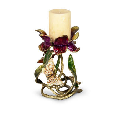 "Meredith Floral 9"" Pillar Candle Holder"