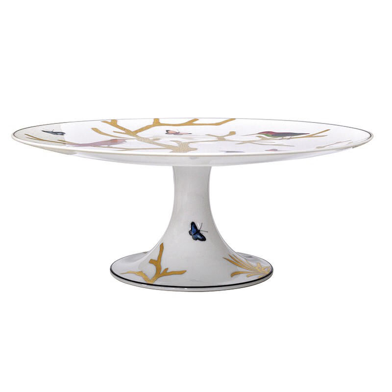 Aux Oiseaux Footed Cake Platter, large