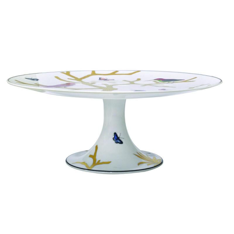 Aux Oiseaux Cake Footed Dish, large