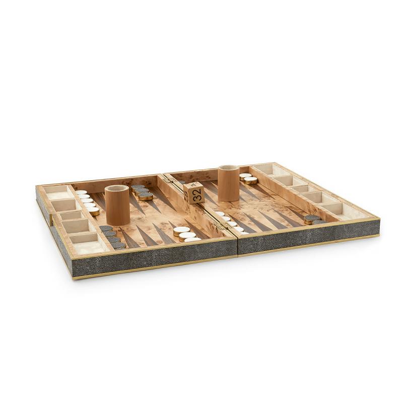 Shagreen Backgammon Set, large