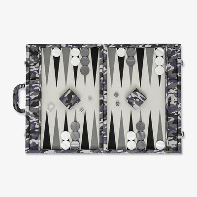 Camouflage Large Backgammon Set w. Handle Chrome