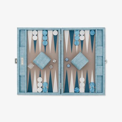 Blue Alligator Medium Backgammon Set