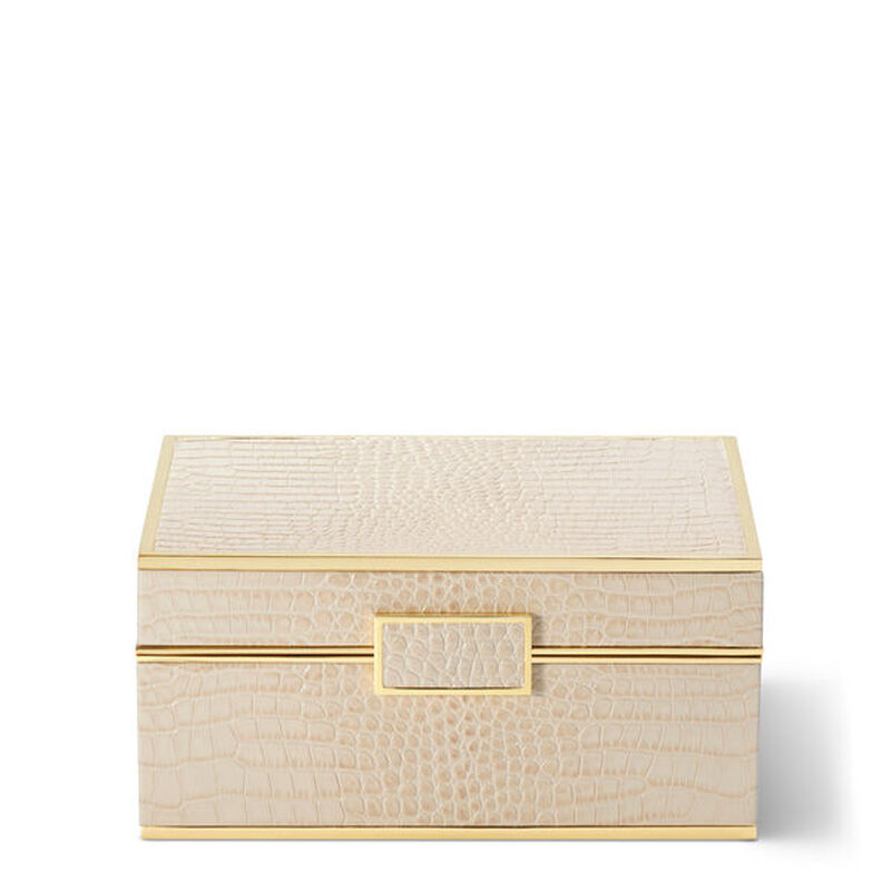 Croc Leather Jewelry Box, large