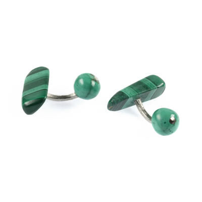 CUFFLINKS MALACHITE SILVER. WITH BOX