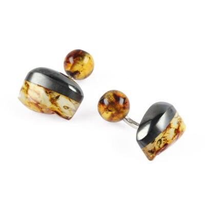 CUFFLINKS AMBER HAEMATITE SILVER. WITH BOX