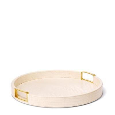 Carina Croc Leather Small Round Tray