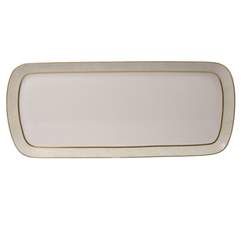 Sauvage Blanc Rectangular Cake Platter, large