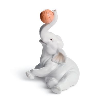 Classic Elephant Basket Figurine
