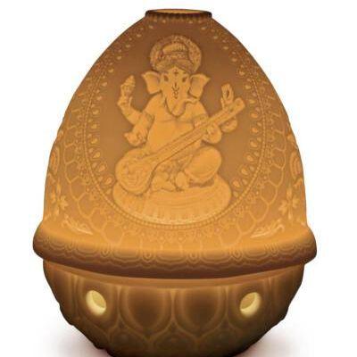The Spirit Of India Lithophane Votive Led Light-Veena Ganesha