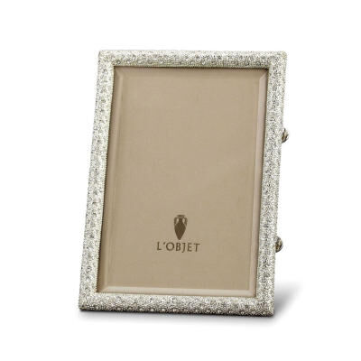 Rectangular Pave Platinum With White Crystals Picture Frame